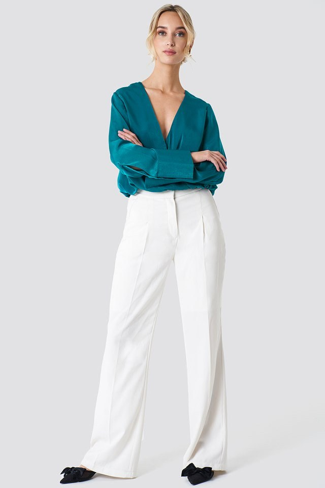 Wrap Satin Top with Wide Leg Pants