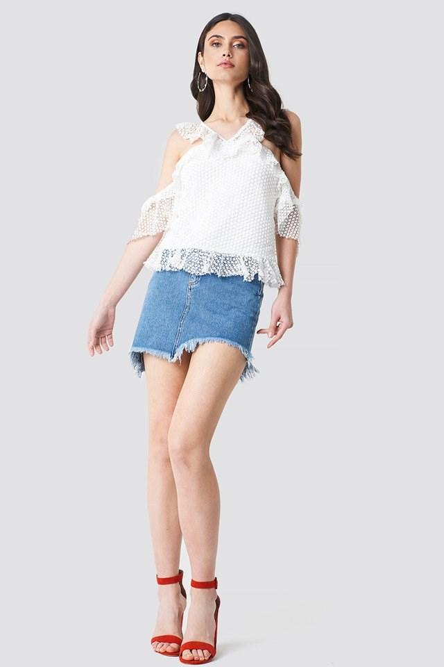 Frill Sleeve Blouse with Denim Skirt