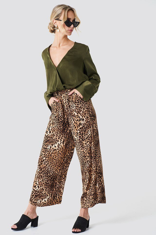 Wrap Satin Top with Flowy Trousers
