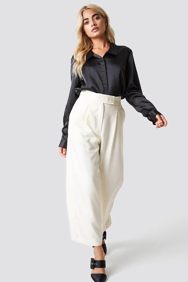 Satin Shirt with High Waist Trousers