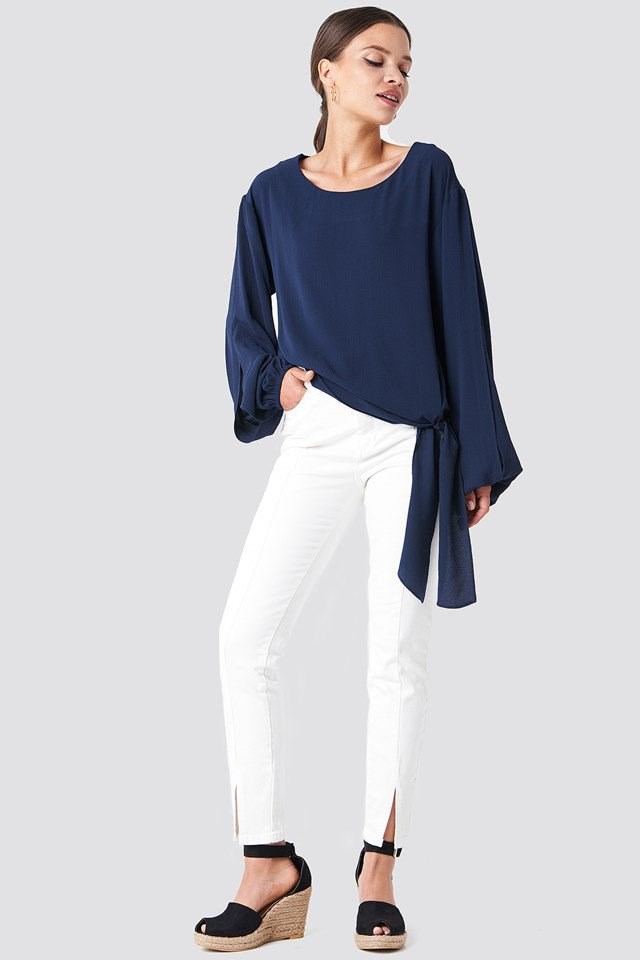 White Trousers with Open Sleeve Blouse