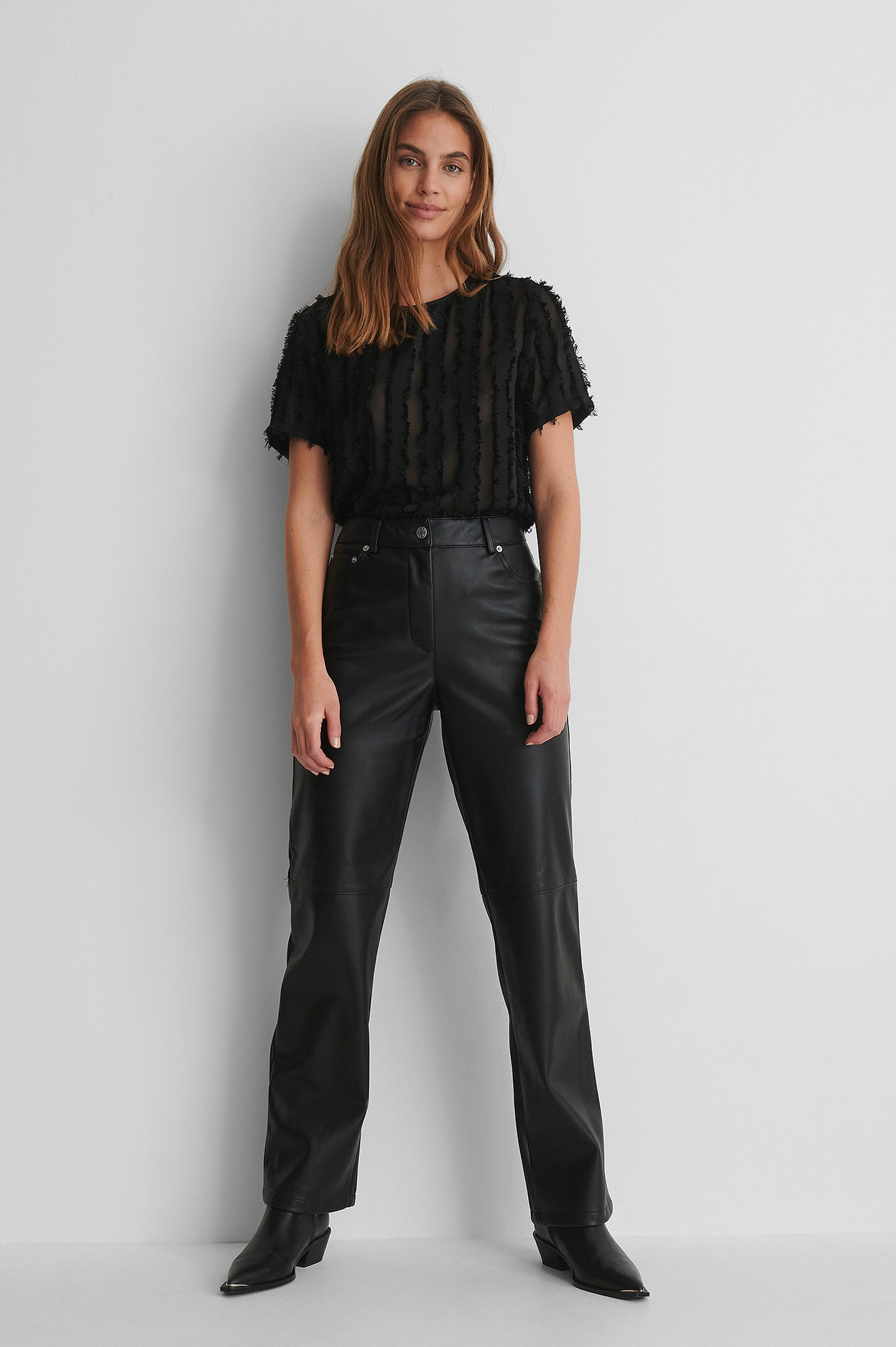 Round Neck Textured Top with PU Pants and Boots.