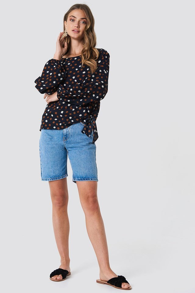 Balloon Sleeve Top with Bermuda Shorts