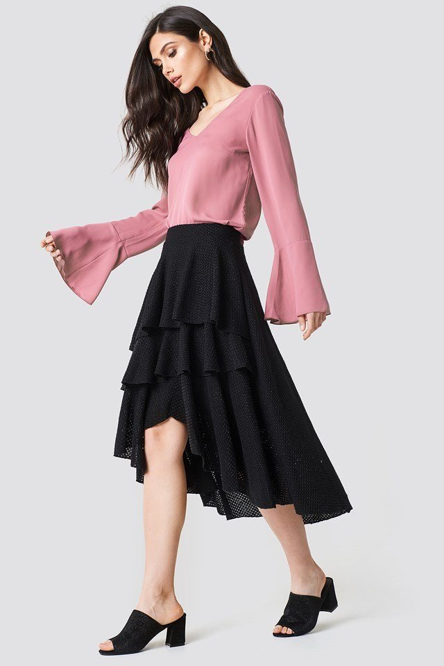 Tie Back Sleeve with Multi Layer Skirt