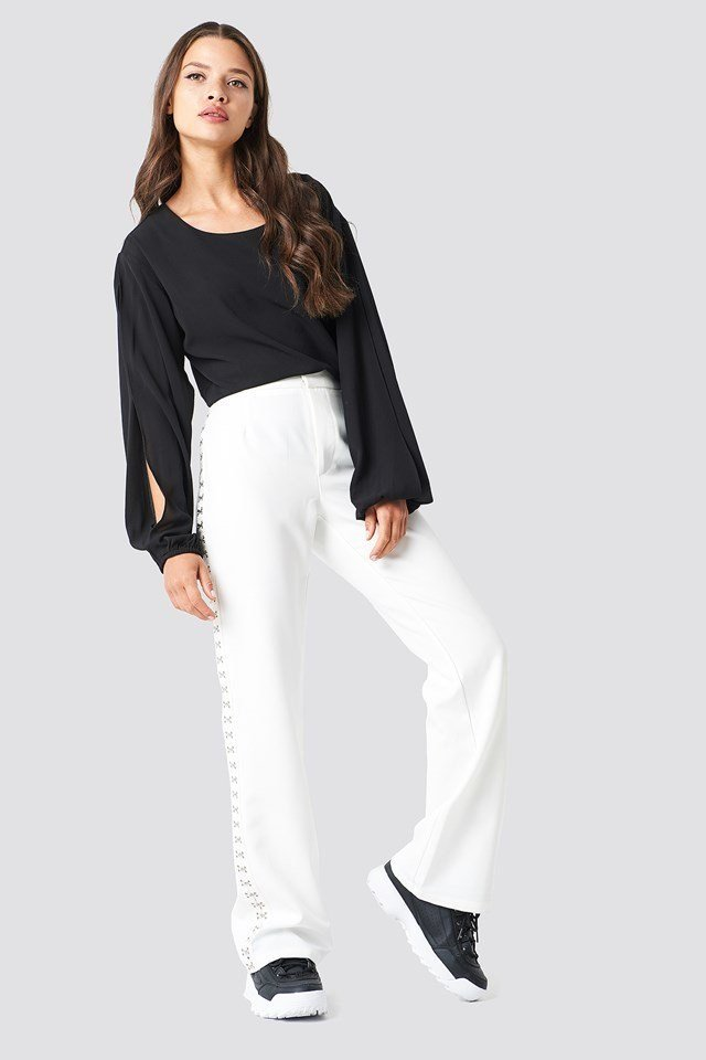 Open Sleeve Blouse with White Trousers