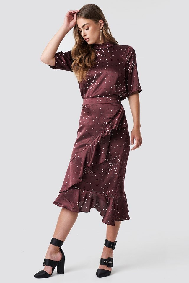 Dotty Blouse with Ruffle Skirt