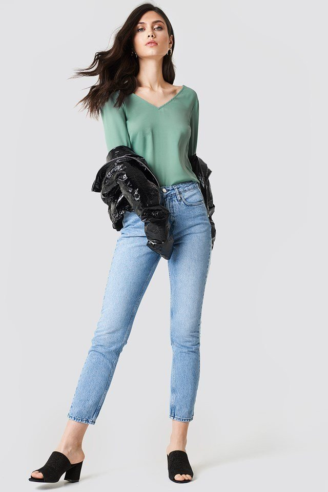 Tie Back Blouse with Jeans