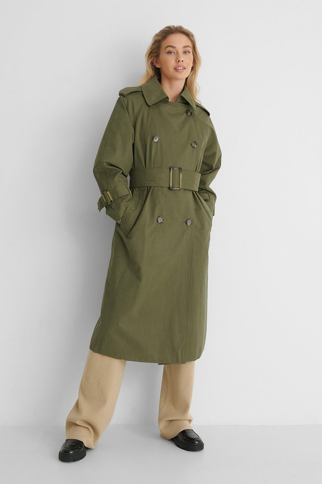 Banksy Trench Coat Green.