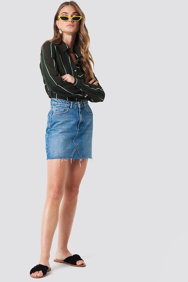 Striped Shirt with Mini Skirt