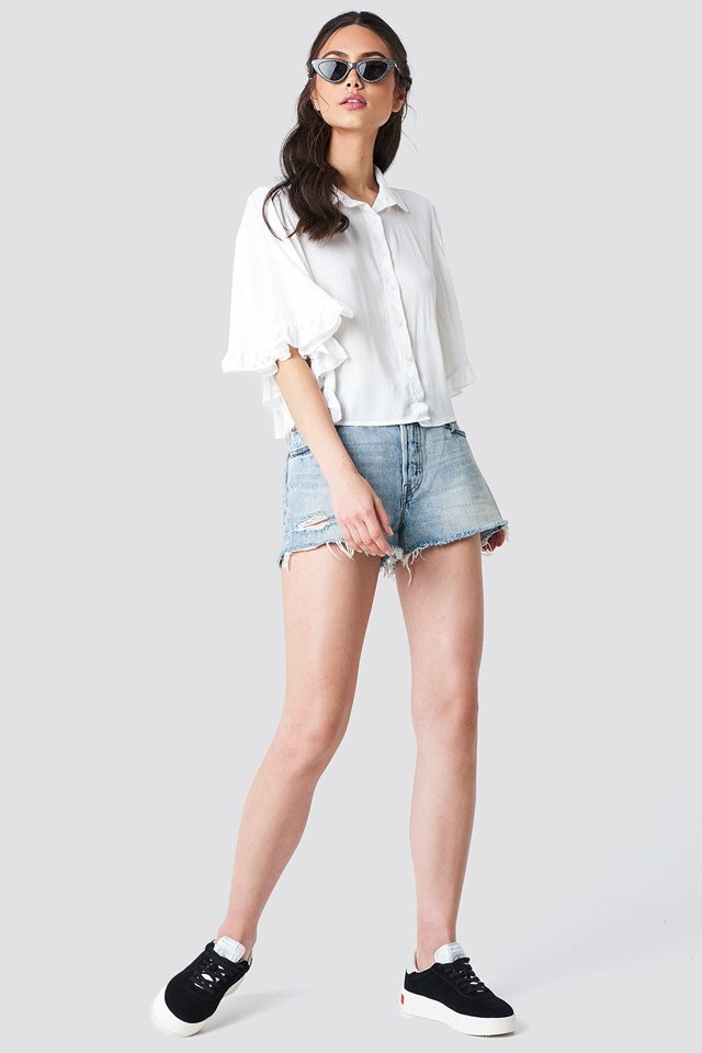 Batwing Top with Denim Shorts