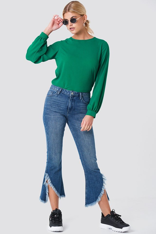 Back Button Blouse with Jeans