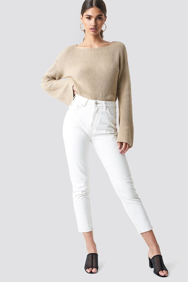 Beige Long Sleeve Knitted Sweater Outfit