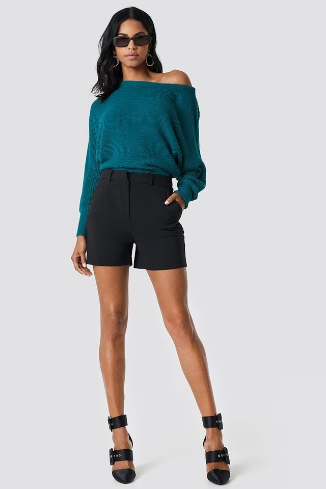 Off Shoulder Knitted Sweater Outfit