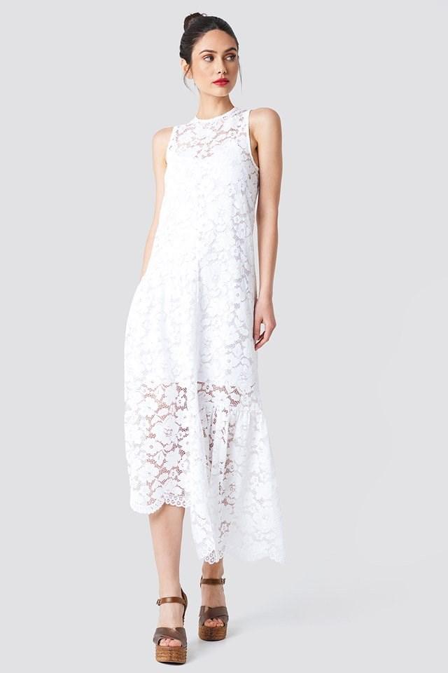 Asymmetric Flounce Lace Dress Outfit