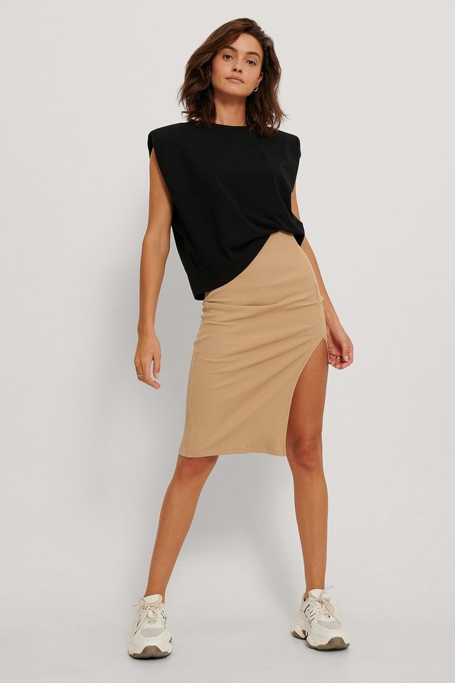 Ribbed Slit Jersey SKirt Outfit.