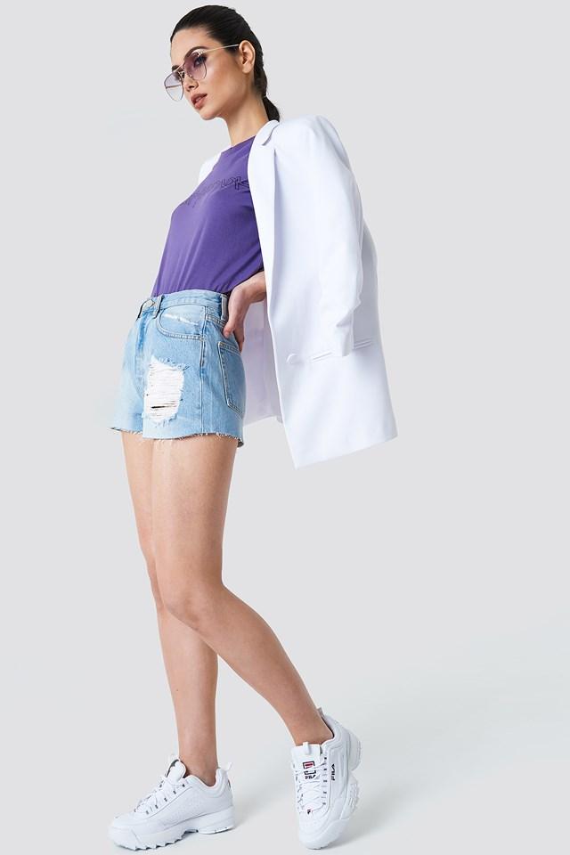 Tailored White Blazer with Denim Shorts