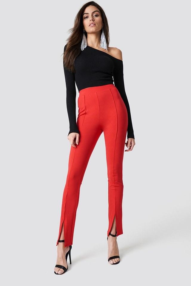Slit Pants One Shoulder Outfit