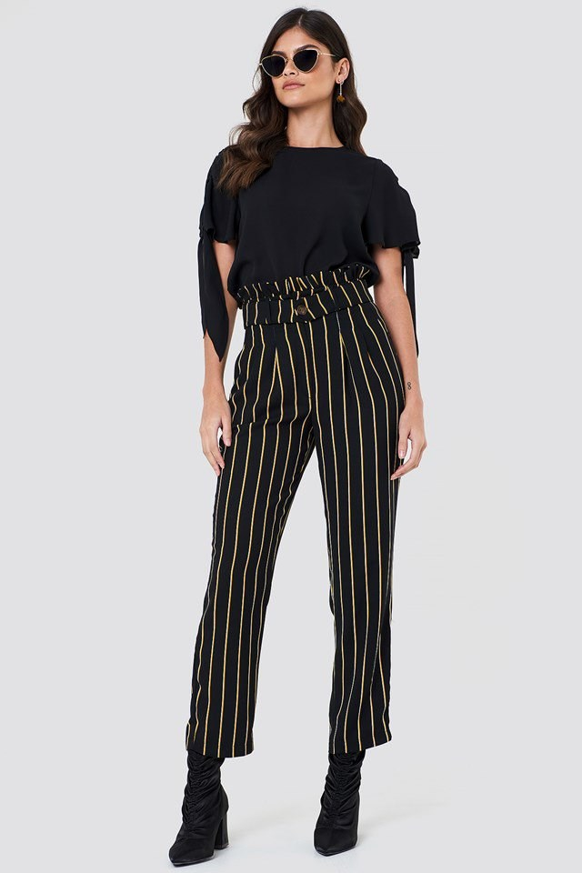 Tie Sleeve Blouse with Striped Pants