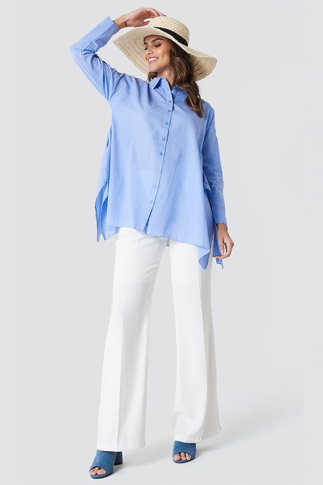 Asymmetric Slit Tunic with Trousers