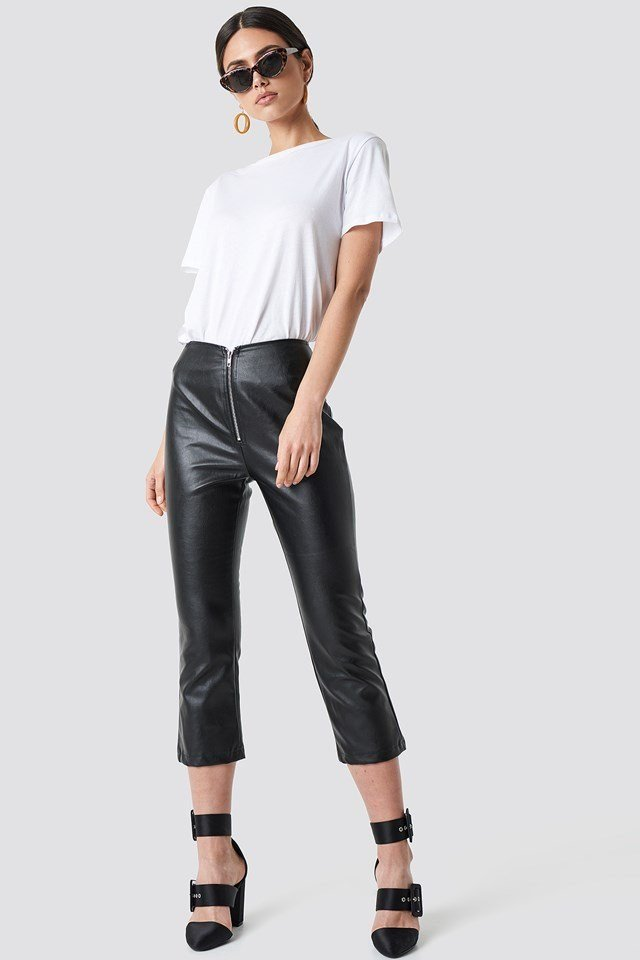 Front Zipper Leather-like Pants with Classic Tee