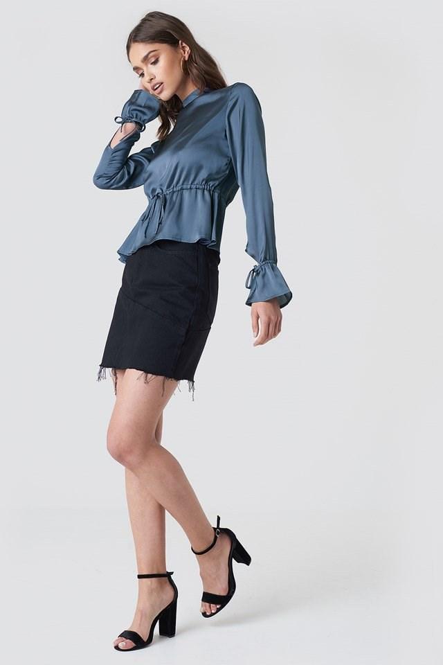 Satin Open Back Blouse with Mini Skirt