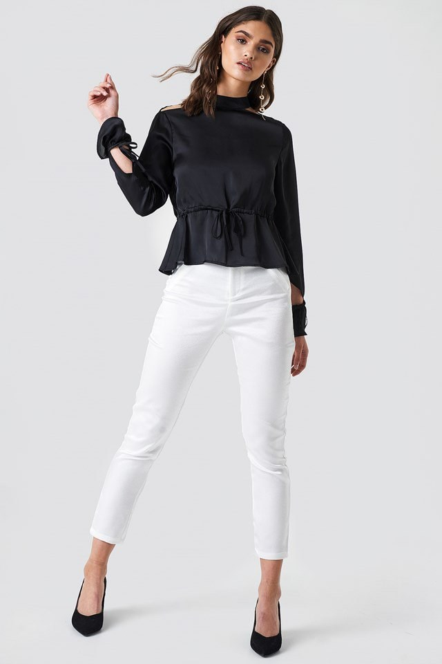 Satin Open Back Blouse with Trousers
