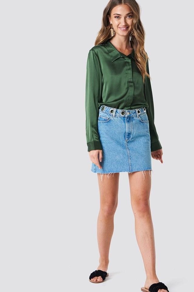 Shiny Satin Shirt with Eyelet Skirt