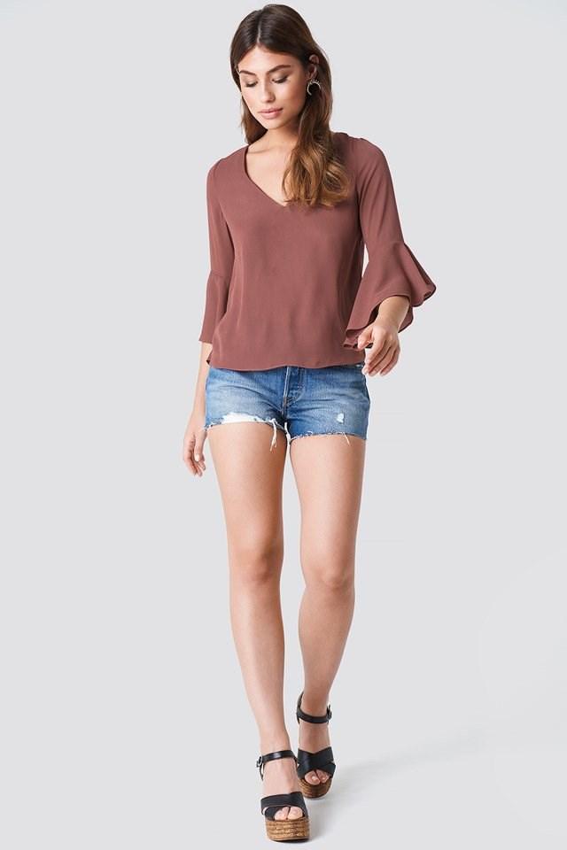 Flounced Sleeve Blouse with Shorts