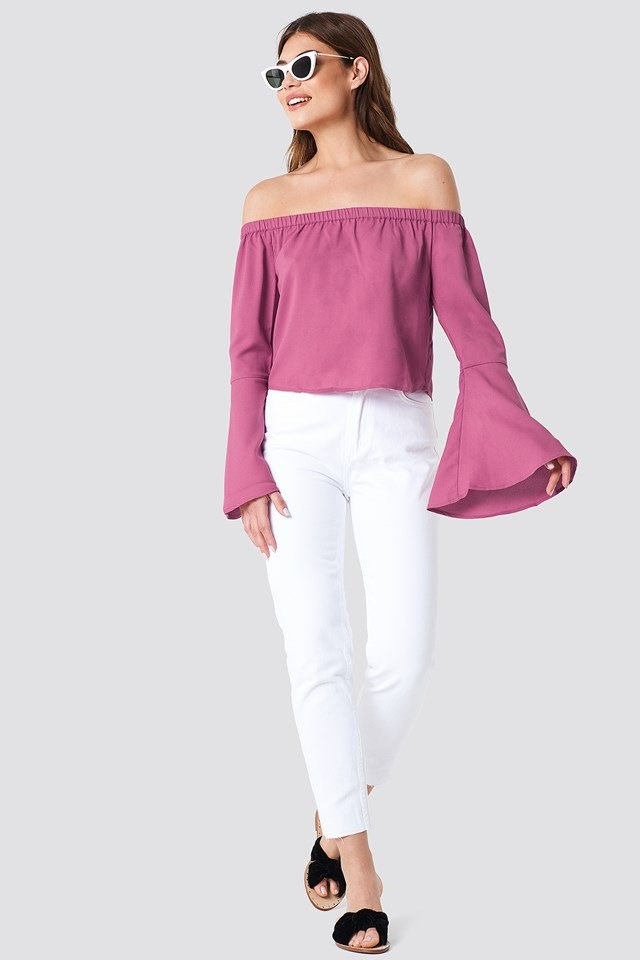 Off Shoulder Top with Trousers and Sandals