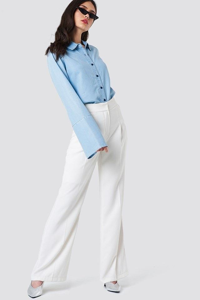 Wide Sleeve Denim Shirt with Wide Trousers