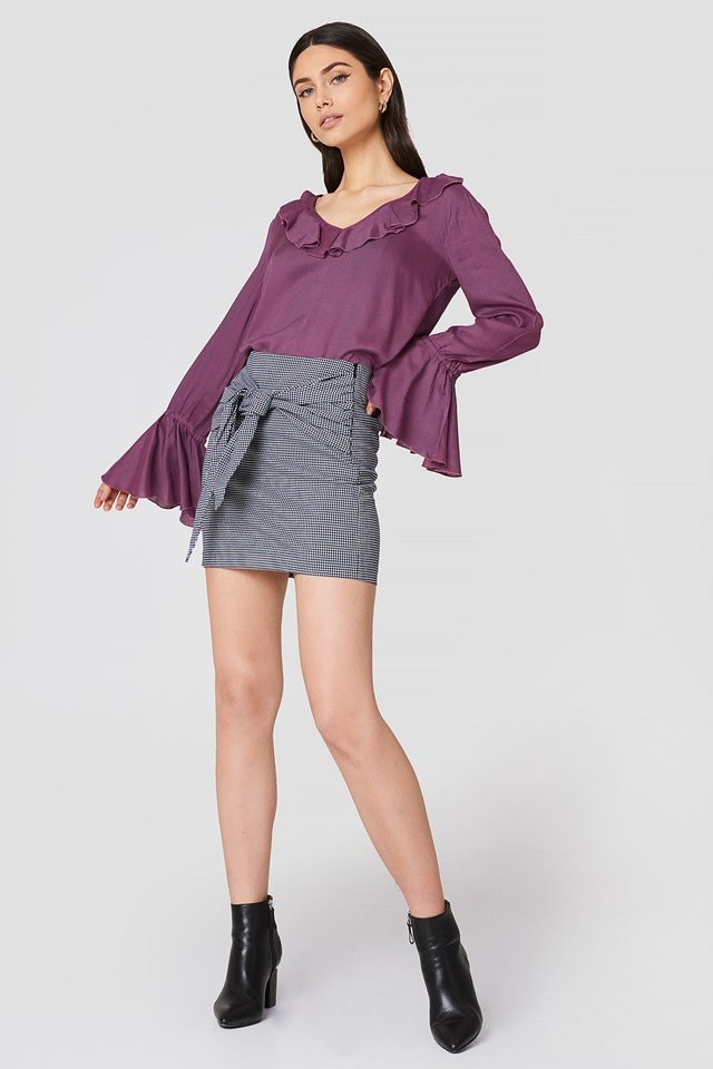 Flounce Sleeve Frill Top with Skirt