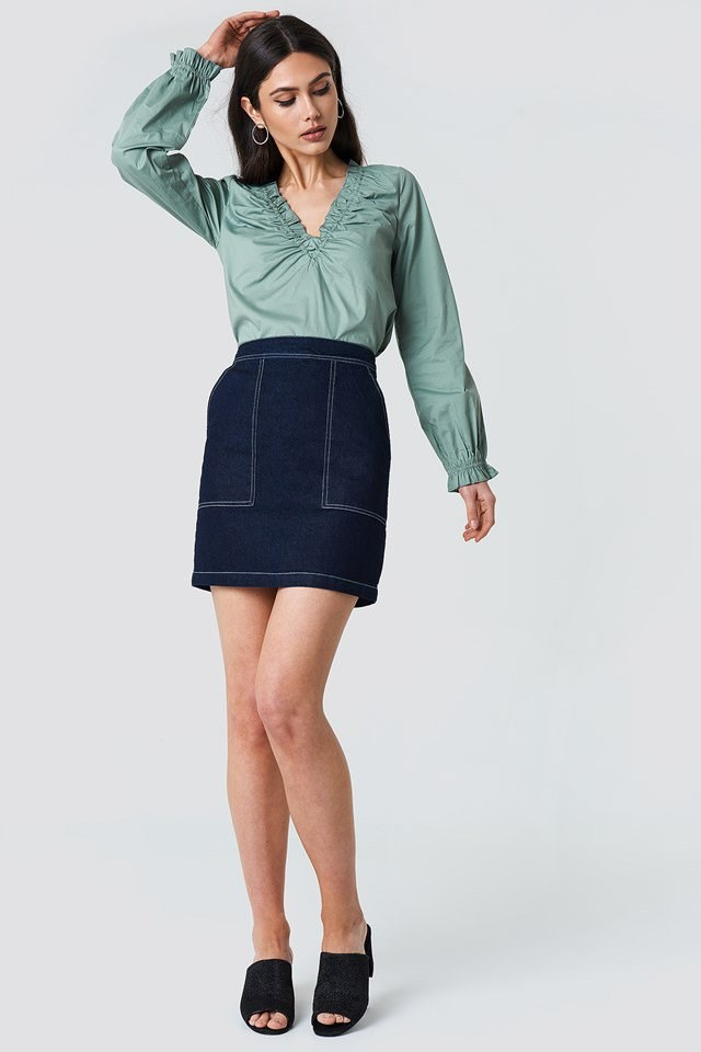 Gathered Neckline Top with Skirt