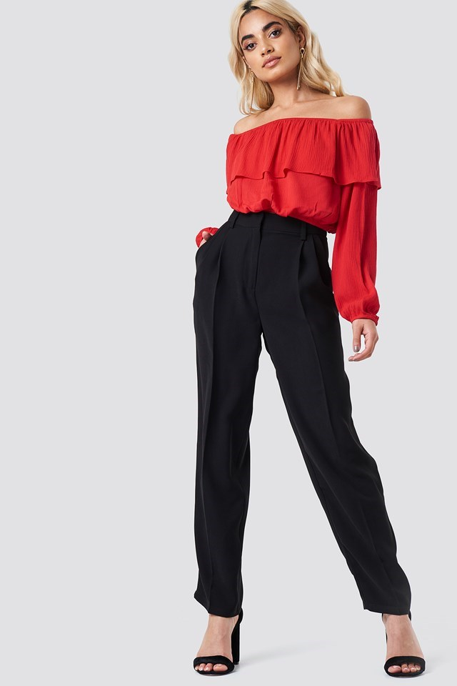 Off Shoulder Ruffle Blouse with Trousers