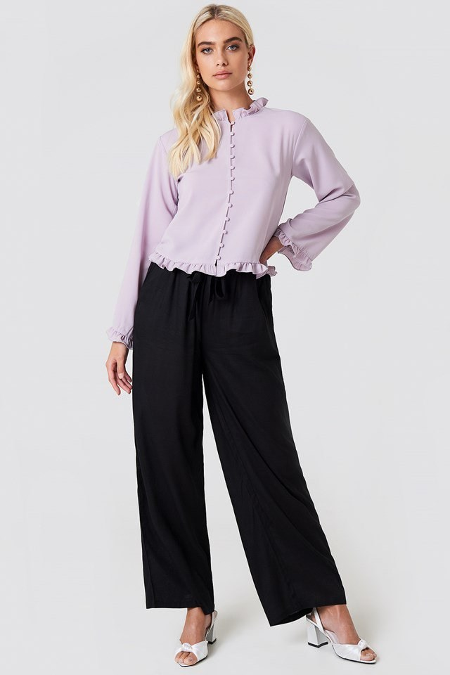 Trumpet Sleeve Frill Blouse with Trousers