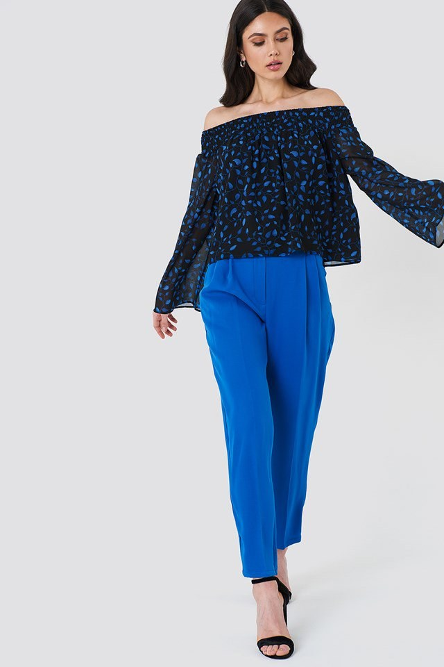 Off Shoulder Floral Frill Top with Wide Trousers