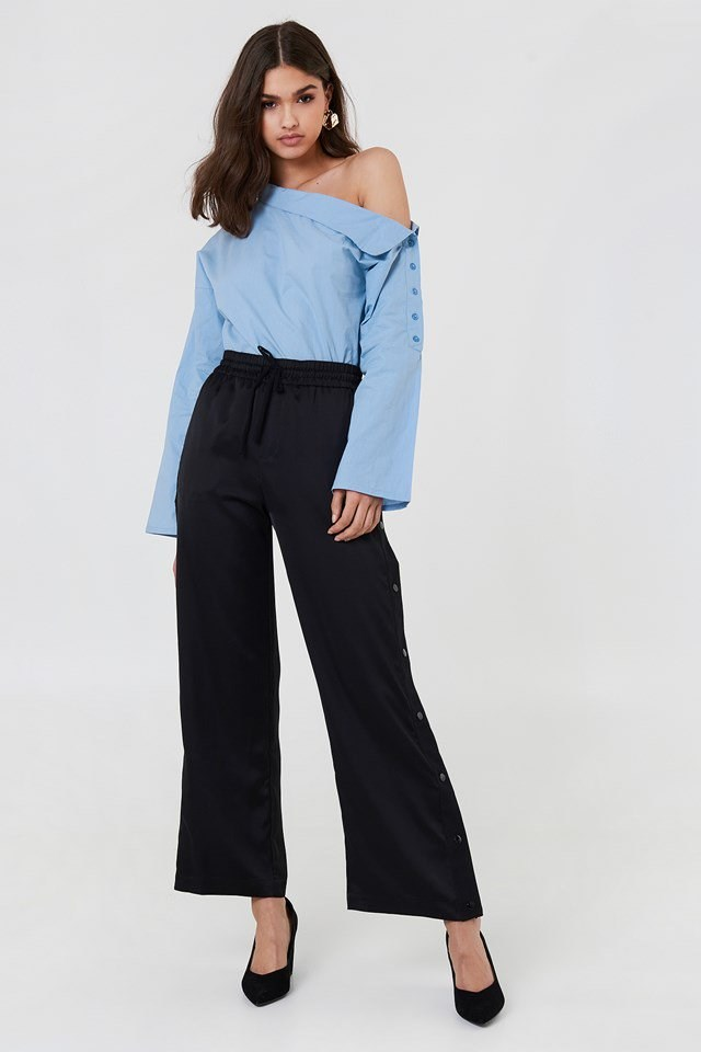 Slip Shoulder Shirt with Wide Trousers