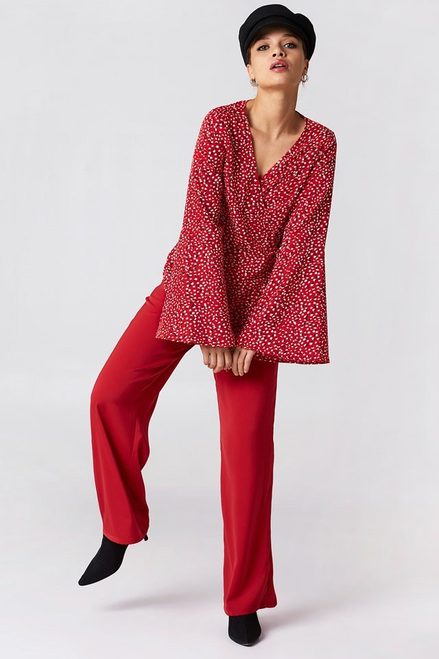 Wrap Frill Blouse with Trousers and Heels