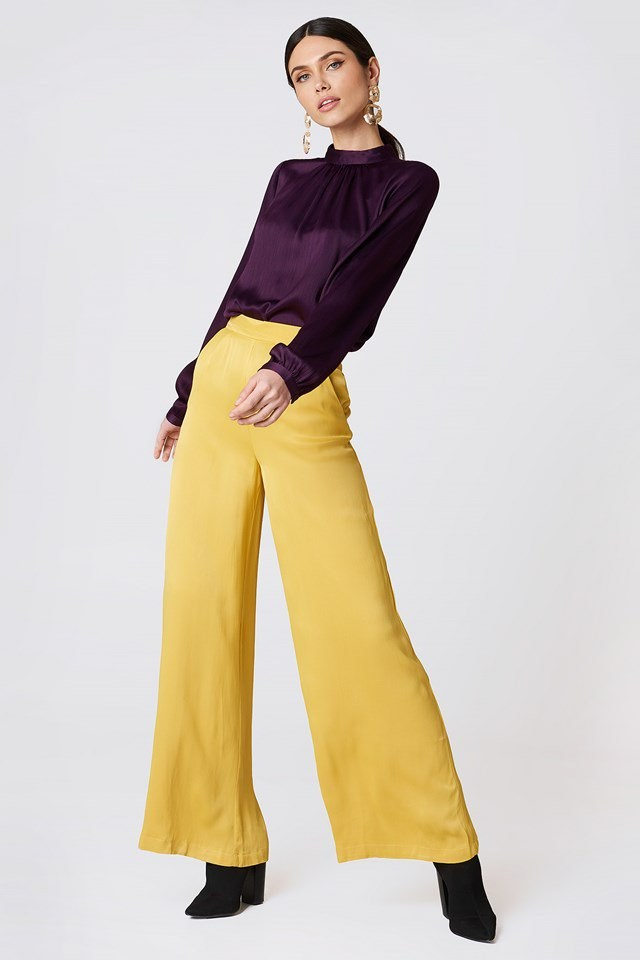 Turtleneck Blouse with Wide Leg Trousers