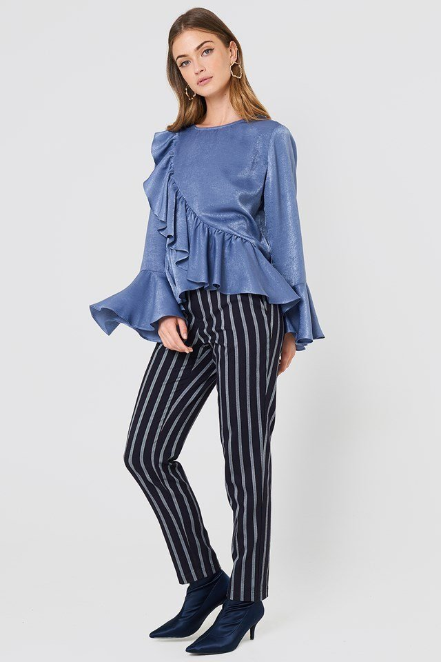 Frill Top with Stripe Trousers