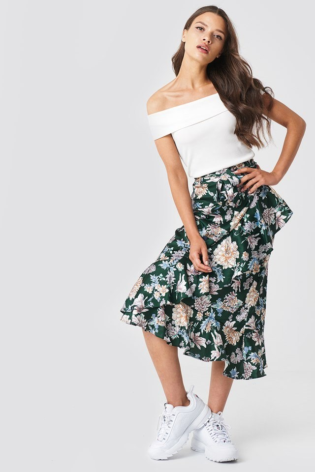 Off Shoulder Top with Flower Frill Skirt
