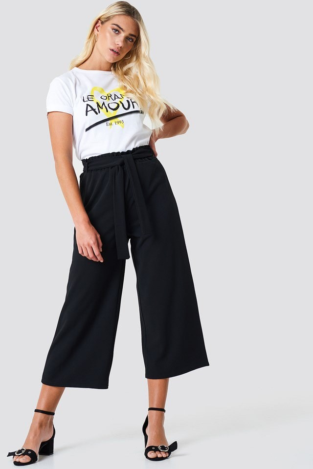 Tie Waist Trousers with Graphic Tee and Heels