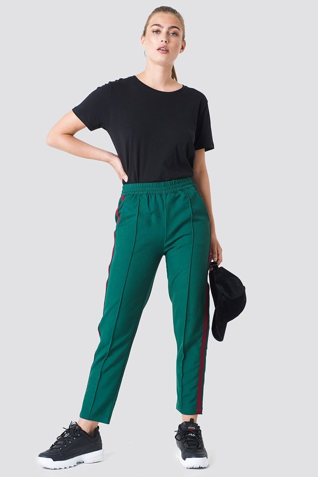 Side Stripe Joggers with Tee and Sneakers