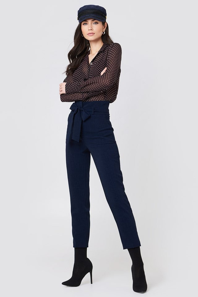 Sheer Print Shirt with Tie Waist Pants
