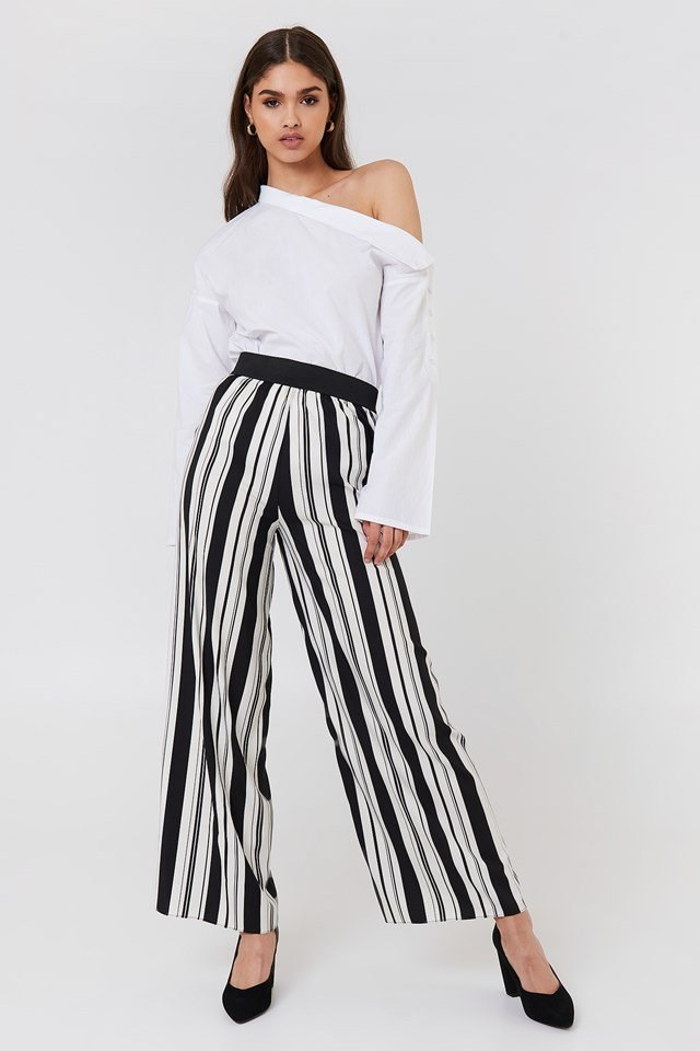 Slip Shoulder Button Shirt with Stripe Pants