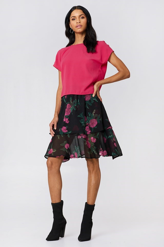 Knot Back Blouse with Layered Skirt
