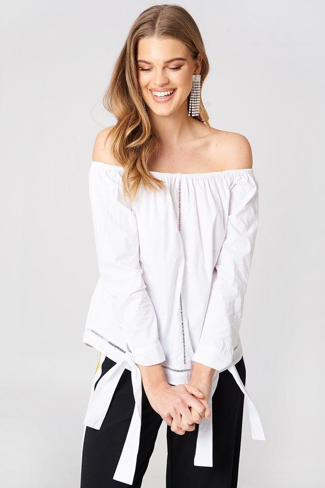 Off Shoulder Blouse with Trousers