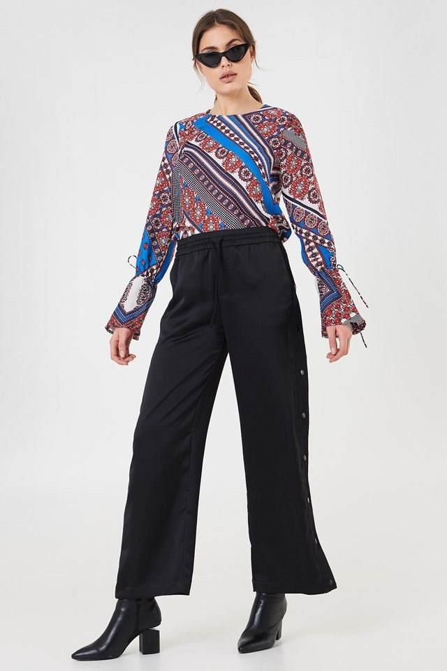 Patterned Blouse with Wide Trousers