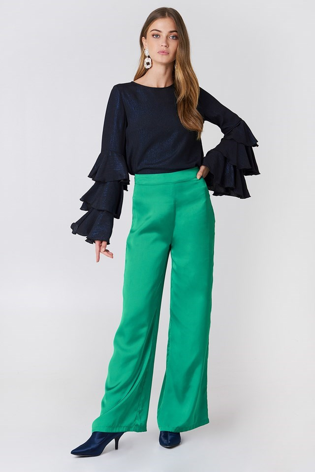 Triple Layer Flounce Blouse with Wide Pants