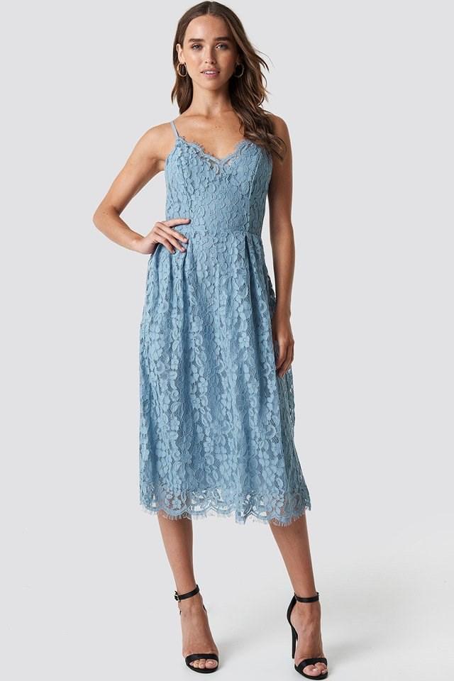 Blue Lace Dress Outfit