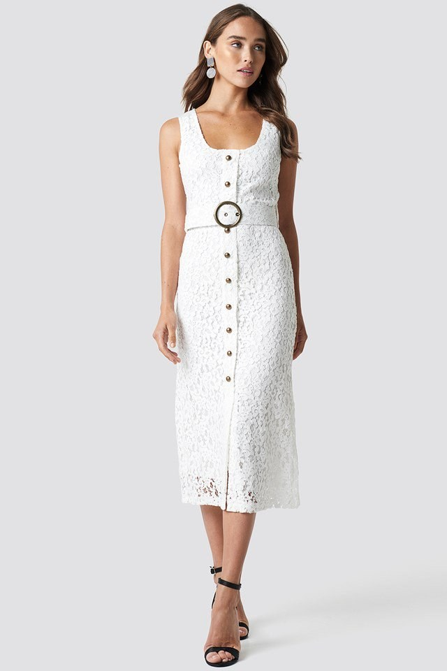 Front Button Detailed Midi Dress